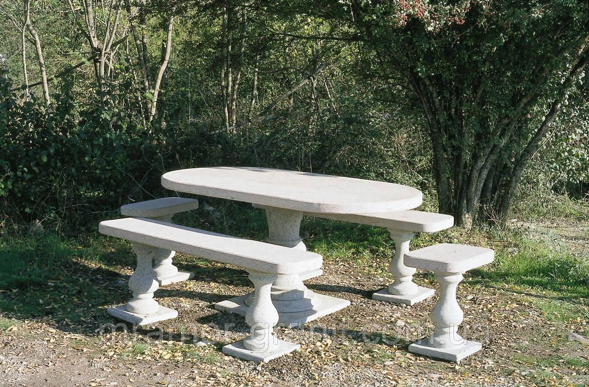 Столик с лавочками из мрамора СЛЛМ - 127