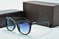 Солнцезащитные очки круглые Louis Vuiiton черный глянец