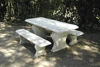 Столик с лавочками из мрамора СЛЛМ - 128