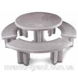 Столик с лавочками из мрамора СЛЛМ - 129