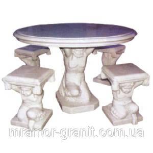 Столик со стульями из мрамора СЛЛМ - 130