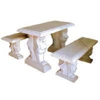 Столик с лавочками из мрамора СЛЛМ - 131