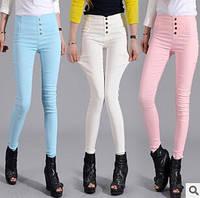 Однотонные стильные женские брюки  с высокой посадкой