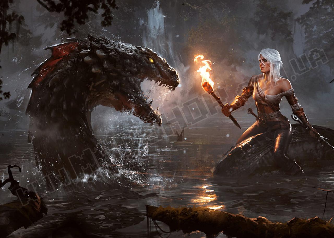 Картина 60х40см Ведьмак Дракон