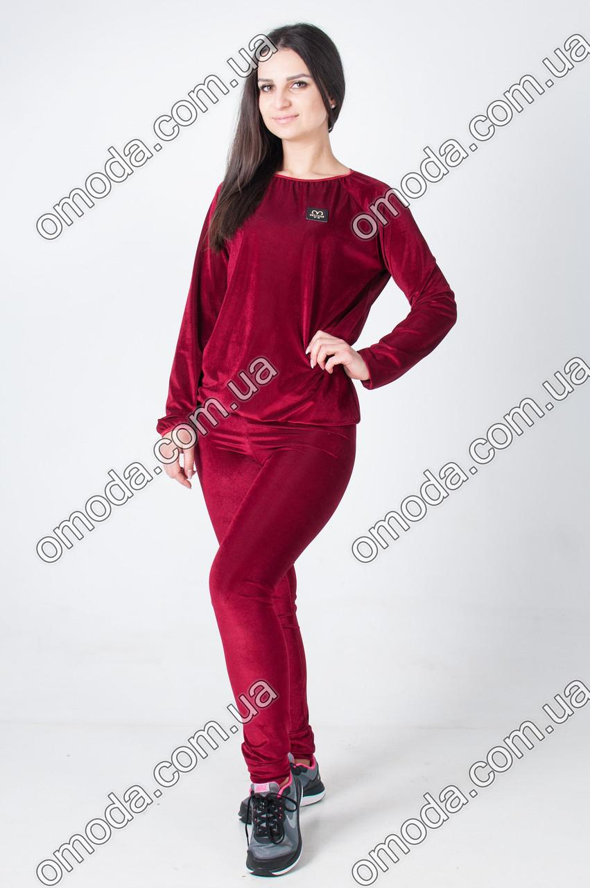 Женский велюровый спортивный костюм бордо