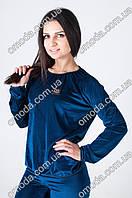 Женский велюровый спортивный костюм синий