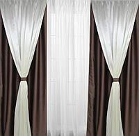 Шторы на окна двойные коричневого цвета комплект с 4 штор