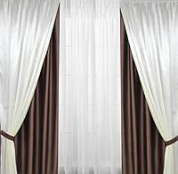 Шторы на окна двойные коричневого цвета