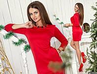Модное красное платье с украшением, с карманами.  Арт-9898/79
