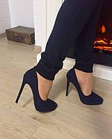 Элегантные женские туфли искусственная замша, каблук 12 см. Цвет темно синий