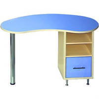 Маникюрный стол МСТ-35, фигурная столешница, одно-тумбовый