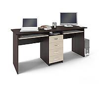 """Универсальный компьютерный стол """"Тандем"""", двойной, одно-тумбовый, ДСП"""