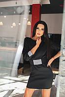 Шикарное черное платье, декорированое дорогими камнями.  Арт-9901/79