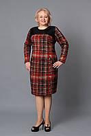 Модное повседневное платье в красную клетку большого размера