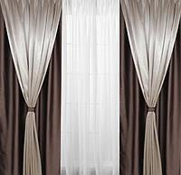Шторы на окна шоколадные с серым