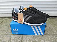 Мужские Кроссовки Adidas Neo черные замша