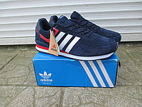 Мужские Кроссовки Adidas Neo синие  с белым замша