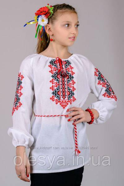Детская вышиванка на девочку Размеры 122- 152 Хлопок