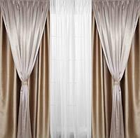 Шторы на окна бежевые двойные для гостинной