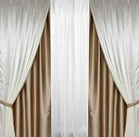Шторы на окна  двойные для гостинной