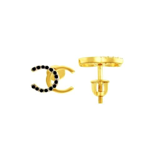 Золотые серьги гвоздики  Шанель