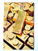 Подарочный пакет  Большой Вертикальный 25х39х9см Золотые монеты, слитки