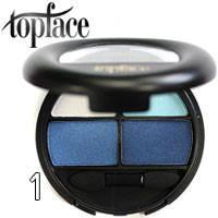 TopFace - Тени для век 4-цветные Four Way Colors PT-502 Тон 01 белые, голубые, синие сатин