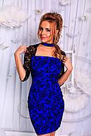 """Нарядное облегающее мини-платье """"Lisara"""" с гипюром (3 цвета)"""