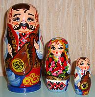 Украинская расписная матрёшка из 3-х штук маленькая 328