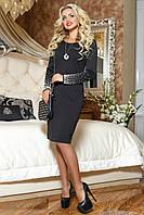 Элегантное черное платье миди с жемчужными рукавами