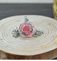 3D кулон с цветком внутри  Красное соцветие