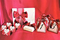 Свадебные аксессуары ручной работы цвет бордовый и айвори, с гипюром