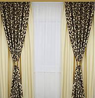 Шторы на окна  двойные с подхватами в комплекте