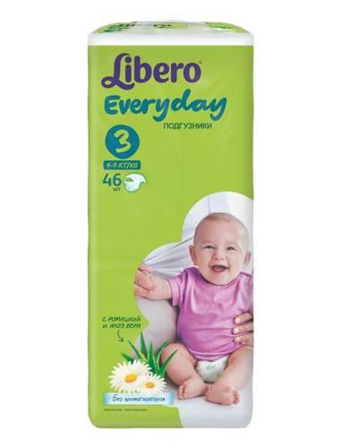 Подгузники Libero Everyday Midi 3 (4-9 кг) 46 шт.
