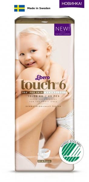 Одноразовые подгузники Libero Touch 6 (13-20 кг) 40 шт.