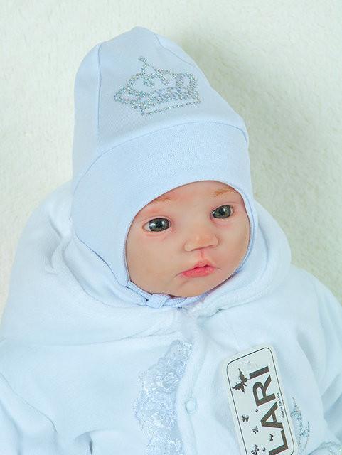 Велюровая шапочка со стразами белая