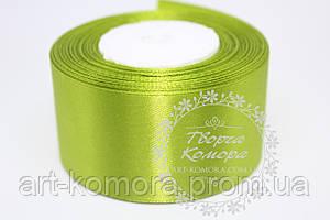 Атласная лента 4 см, светло-зеленая