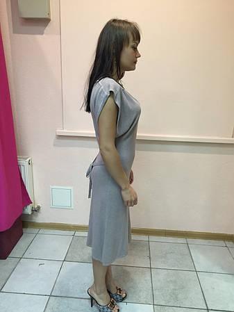 Платье женское короткий рукав Snake Milano с поясом,цвет капучино, фото 2