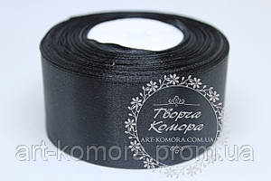 Атласная лента 4 см, черная