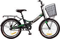 """Велосипед 20"""" Formula SMART 14G рама-13"""" St черно-зелен. с багажником зад St, с крылом St, с корзиной St 2017"""
