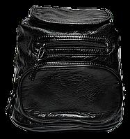 Модный женский рюкзак из искусственной кожи черного цвета на молнии GGR-809477