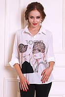 Стильная блуза из креп-шифона с яркими принтами