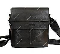 Компактна чоловіча сумка чорного кольору через плече (7684-1)