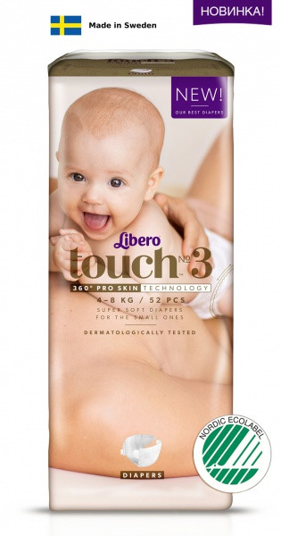 Одноразовые подгузники Libero Touch 3 (4-8 кг) 52 шт.