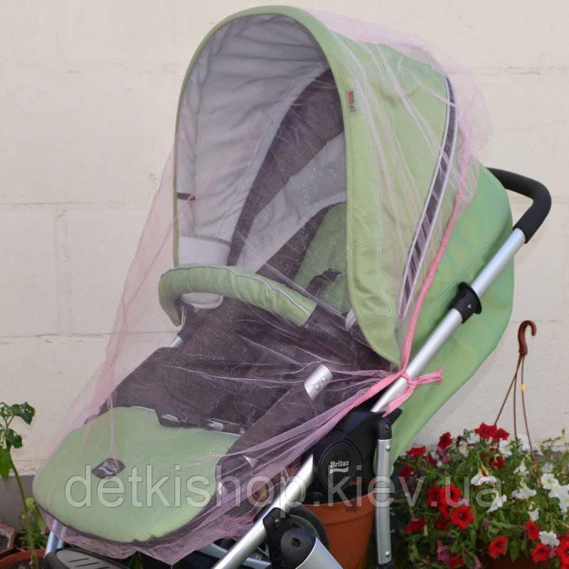 Москитная сетка на коляску универсальная (светло-розовая)