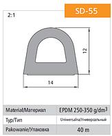 Универсальный уплотнитель Stomil Sanok с самоклеющейся лентой (D-профиль , 14х12 мм коричневый) 40 м