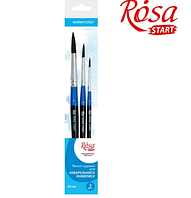 Набор кистей №1 Белка круглая, 3шт (№1,4,8), Rosa Start