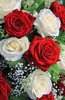 Подарочный пакет  Большой Вертикальный 25х39х9см Букет белых и красных роз