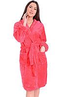 Розовый Халат банный женский флисовый L