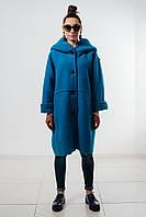 Женское синее пальто с капюшоном из натуральной шерсти